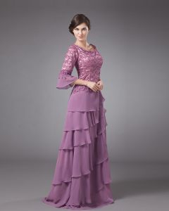 Absorbing Jewel Floor Length Chiffon Lace Mothers of Bride Special Guests Dresses
