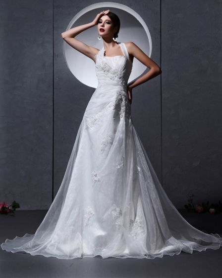 Organza Applique Bead Ruffle Embellishment Halter Chapel A-Line Bridal Gown Wedding Dresses