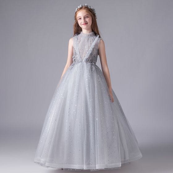 Vintage Szary Urodziny Sukienki Dla Dziewczynek 2020 Suknia Balowa Przezroczyste Wysokiej Szyi Bez Rękawów Aplikacje Z Koronki Frezowanie Cekiny Tiulowe Długie Wzburzyć