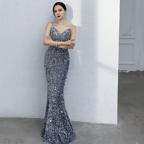 Sexy Sparkly Ocean Blue Sequins Evening Dresses  2021 Trumpet / Mermaid Spaghetti Straps Sleeveless Backless Floor-Length / Long Formal Dresses