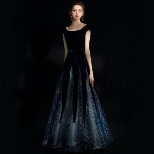 Chic / Beautiful Navy Blue Starry Sky Suede Evening Dresses  2018 A-Line / Princess Square Neckline Cap Sleeves Glitter Rhinestone Floor-Length / Long Ruffle Backless Formal Dresses