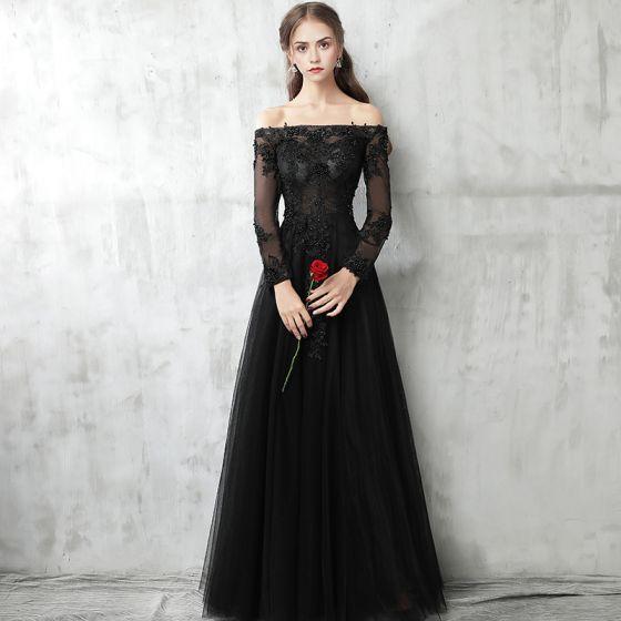 799a71f02b Piękne Czarne Sukienki Wieczorowe 2017 Princessa Przy Ramieniu Długie  Rękawy Aplikacje Z Koronki Perła Długie Przebili ...