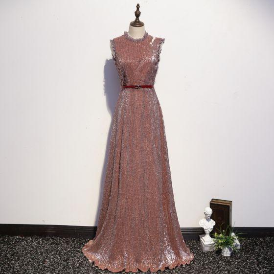 Glitzernden Rose Gold Abendkleider 2020 A Linie Rundhalsausschnitt Stoffgürtel Pailletten Ärmellos Lange Festliche Kleider