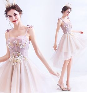 Chic / Beautiful Blushing Pink Party Dresses 2020 A-Line / Princess Spaghetti Straps Beading Rhinestone Appliques Sleeveless Backless Asymmetrical Formal Dresses