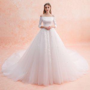 Elegant Ivory Wedding Dresses 2019 A-Line / Princess Off-The-Shoulder Lace Flower 3/4 Sleeve Backless Royal Train