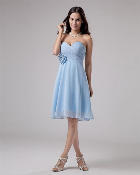 Chiffon Ruffles Flower Sweetheart Thigh Length Cheap Homecoming Dresses
