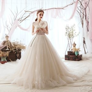 Luxury / Gorgeous Champagne Wedding Dresses 2019 A-Line / Princess Scoop Neck Beading Sequins Sleeveless Cathedral Train