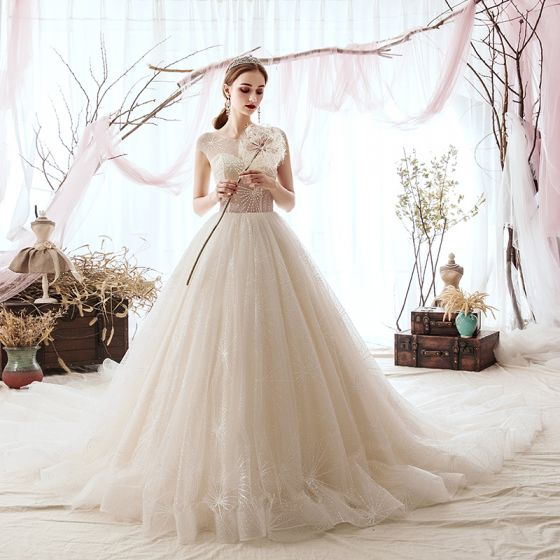 bd27ceb93b136 Luxury / Gorgeous Champagne Wedding Dresses 2019 A-Line / Princess Scoop  Neck Beading Sequins Sleeveless Cathedral Train