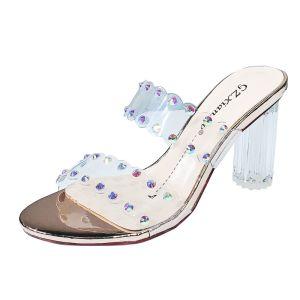 Transparent Charmant Gold Strassenmode Sandalen Damen 2020 Strass 9 cm Thick Heels Peeptoes Sandaletten