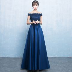 Elegant Navy Blue Satin Bridesmaid Dresses 2019 A-Line / Princess Off-The-Shoulder Short Sleeve Bow Sash Floor-Length / Long Ruffle Backless Wedding Party Dresses