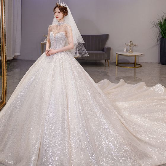 Luxury / Gorgeous Sparkly Champagne Beading Wedding Dresses 2021 Ball Gown High Neck Pearl Rhinestone Sequins 1/2 Sleeves Backless Royal Train Wedding