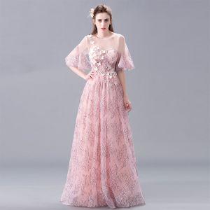 Eleganckie Rumieniąc Różowy Koronkowe Sukienki Wieczorowe 2017 Princessa Wycięciem 1/2 Rękawy Aplikacje Kwiat Perła Długie Bez Pleców Przebili Sukienki Wizytowe