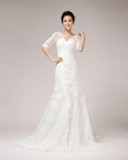 V Neck Rhinestone Floor Length Half Sleeve Lace A Line Wedding Dress