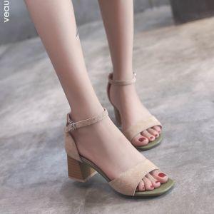 Korting Abrikoos / Beige Toevallig Sandalen Dames 2018 Suede Enkelband 5 cm Dikke Hak Peep Toe Sandalen