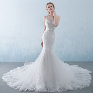 Chic / Beautiful White Pierced Wedding Dresses 2018 Trumpet / Mermaid Scoop Neck Sleeveless Backless Appliques Lace Sequins Beading Crystal Bow Sash Cathedral Train