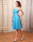 Taffeta Pleated Knee Length Bridesmaid Dresses