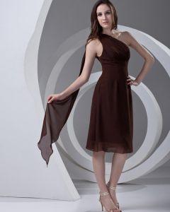 Longueur De Genou De Femmes Mousseline De Soie Plissee Pente Formelles Petite Robe De Fete