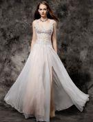 Beautiful Evening Dress 2016 V-neck Applique Lace Chiffon Split Front Champagne Formal Dresses
