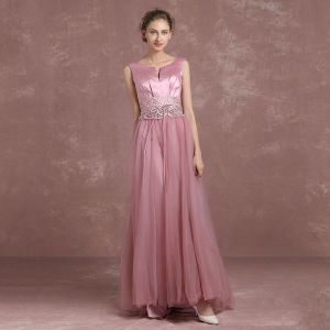 Moderne / Mode Rose Bonbon Robe De Soirée 2018 Princesse Unique V-Cou Sans Manches Appliques En Dentelle Faux Diamant Ceinture Longue Dos Nu Robe De Ceremonie
