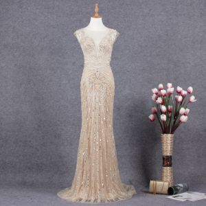 Charming Champagne Evening Dresses  2019 Trumpet / Mermaid Scoop Neck Handmade  Beading Crystal Sequins Sleeveless Sweep Train Formal Dresses