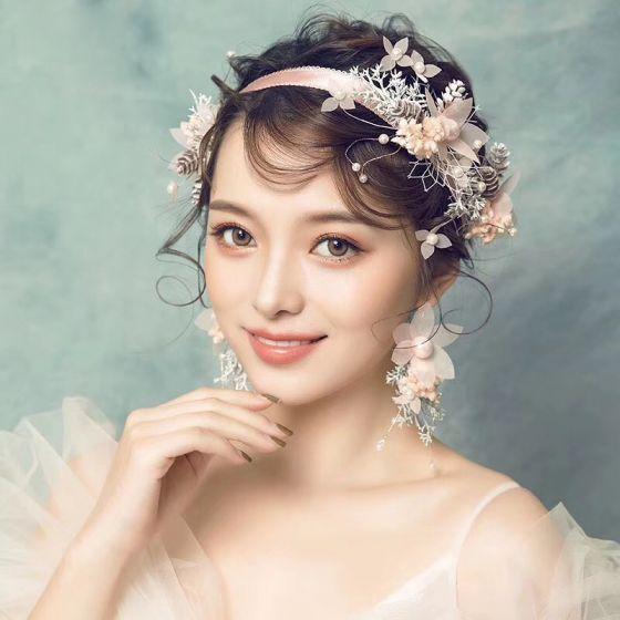 Blomma Fe Pärla Rosa Pannband Brud Huvudbonad 2020 Snörning Blomma Pärla Örhängen Tillbehör