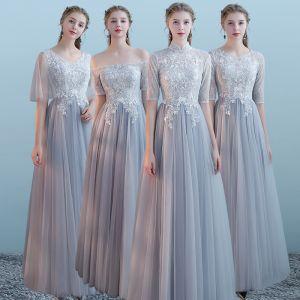Elegante Grau Brautjungfernkleider 2018 A Linie Kurze Ärmel Applikationen Mit Spitze Lange Rüschen Rückenfreies Kleider Für Hochzeit