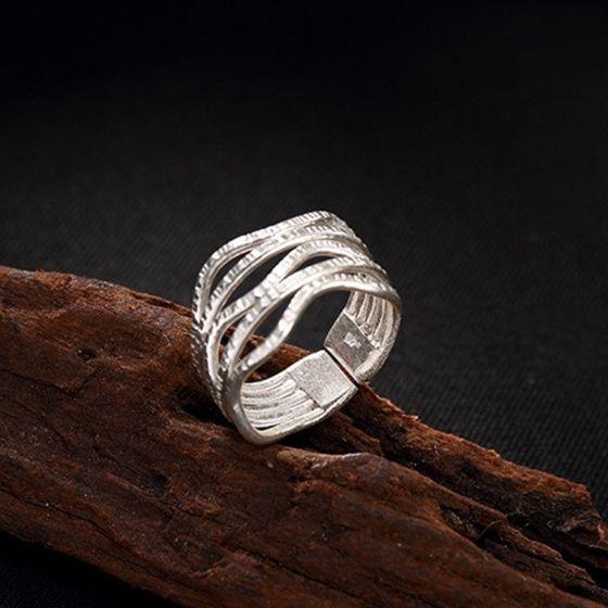 6224127d03db Moda Plata Hecho a mano Suerte Fe Conjunto de anillos Plata esterlina  Alfombra roja Trabajo Vacaciones ...