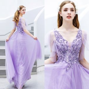 Elegante Lavendel Avondjurken 2019 A lijn V-Hals Kralen Kristal Kant Bloem Korte Mouwen Ruglooze Lange Gelegenheid Jurken