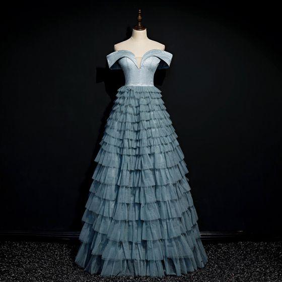 Eleganckie Ciemnoniebieski Taniec Sukienki Na Bal 2020 Princessa Przy Ramieniu Kótkie Rękawy Długie Kaskadowe Falbany Bez Pleców Sukienki Wizytowe