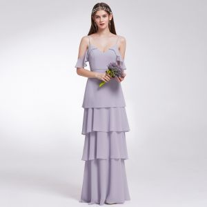 Modest / Simple Lavender Chiffon Bridesmaid Dresses 2019 A-Line / Princess Spaghetti Straps Short Sleeve Floor-Length / Long Cascading Ruffles Backless Wedding Party Dresses