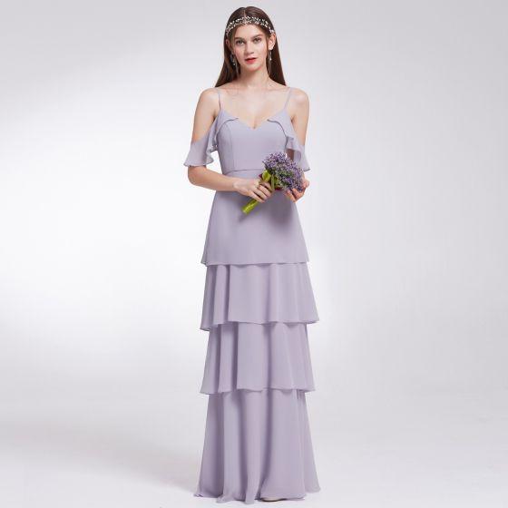 78757aa10aeca Modest / Simple Lavender Chiffon Bridesmaid Dresses 2019 A-Line / Princess  Spaghetti Straps Short Sleeve Floor-Length ...