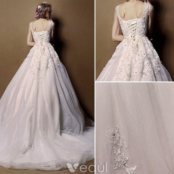 Elegant Wedding Dresses 2016 A-line Scoop Neck High Grade Handmade Applique Lace Bridal Gown