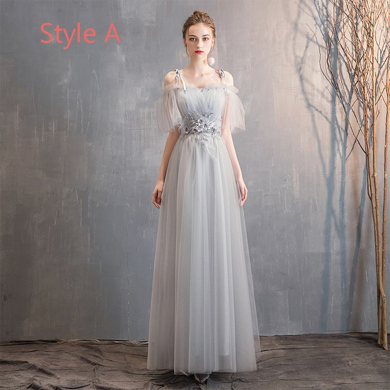 Affordable Grey Bridesmaid Dresses 2019 A-Line / Princess Appliques Lace Pearl Floor-Length / Long Ruffle Backless Wedding Party Dresses