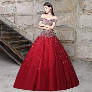Sparkly Burgundy Prom Dresses 2018 Ball Gown Beading Rhinestone Sequins Off-The-Shoulder Backless Sleeveless Floor-Length / Long Formal Dresses