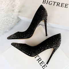 Chic / Beautiful Black Evening Party Pumps 2019 Suede Rhinestone 10 cm Stiletto Heels Pointed Toe Pumps