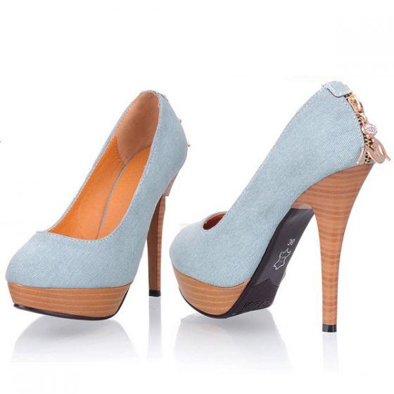 Tacones Cm 13 Las Zapatos De Mezclilla Altos Moda Bombas horBQtxsdC