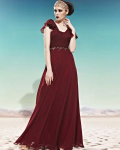 U Cou En Forme De Perles Ruffle Manches Courtes Fermeture Empire Etage Longueur Charmeuse Robe De Soirée De Femme