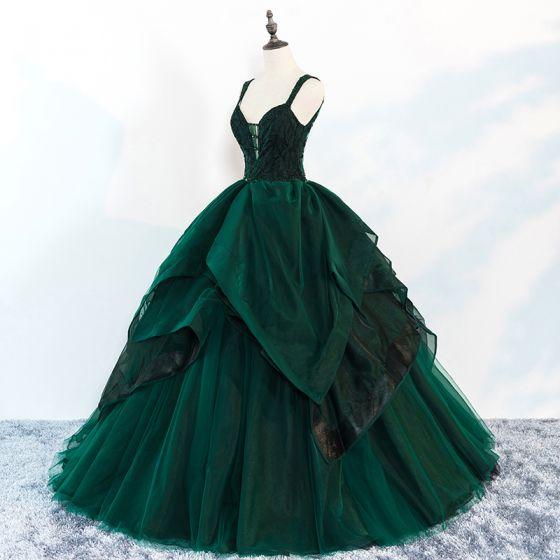 Chic / Beautiful Dark Green Prom Dresses 2018 Ball Gown Beading Cascading Ruffles Spaghetti Straps Backless Sleeveless Floor-Length / Long Formal Dresses
