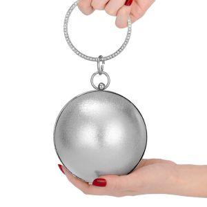 Simple Argenté Cuir Verni Ronds Pochette 2020 Métal Faux Diamant