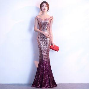 Glitzernden Bling Bling Traube Sweep / Pinsel Zug Abendkleider 2018 Mermaid V-Ausschnitt Rückenfreies Perlenstickerei Pailletten Festliche Kleider