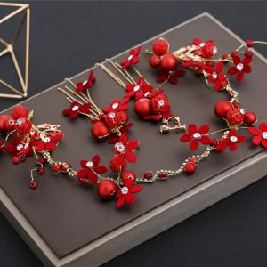 Chic / Beautiful Red Headpieces Earrings 2019 Beading Rhinestone Wedding Prom Accessories