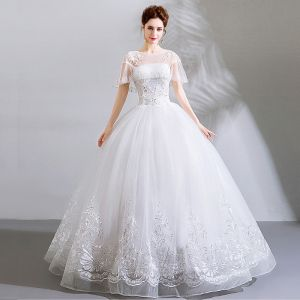 Affordable White Floor-Length / Long Wedding 2018 U-Neck Tulle Beading Appliques Backless Ball Gown Wedding Dresses