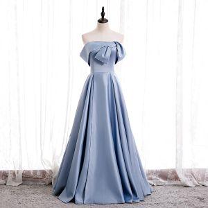 Proste / Simple Błękitne Satyna Taniec Sukienki Na Bal 2020 Princessa Bez Ramiączek Bez Rękawów Frezowanie Perła Długie Wzburzyć Bez Pleców Sukienki Wizytowe