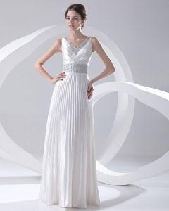 Mode Satin Perle Plisse Col En V Etage Longueur Robe De Bal Sans Manches