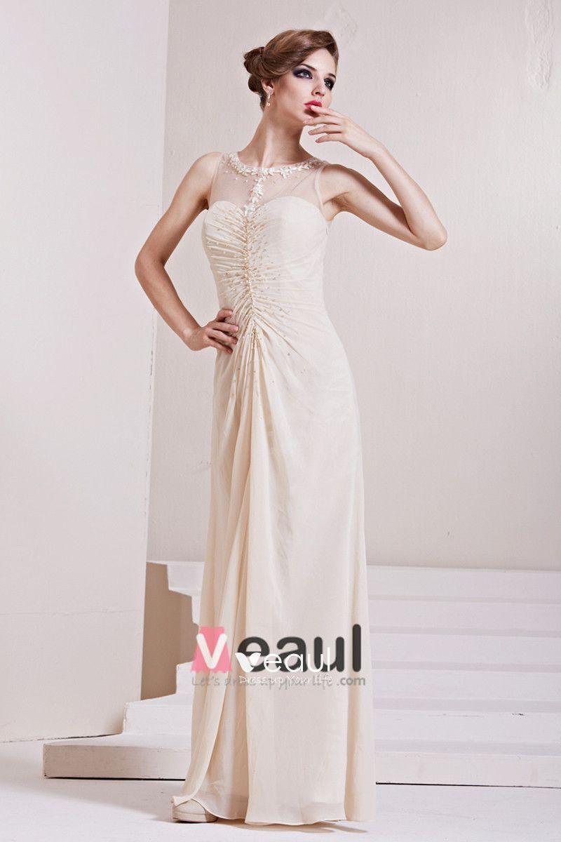Charmeuse Gauze Sequins Ruffle Jewel Sleeveless Floor Length Pleated Evening Dress