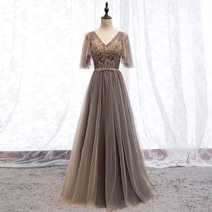 Elegant Brown Evening Dresses  2019 A-Line / Princess V-Neck Beading Rhinestone Sequins Lace Flower Short Sleeve Backless Floor-Length / Long Formal Dresses