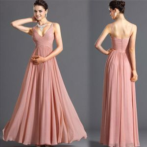 Modest / Simple Summer Pearl Pink Chiffon Maxi Dresses 2018 Empire V-Neck Sleeveless Floor-Length / Long Ruffle Backless Women's Clothing