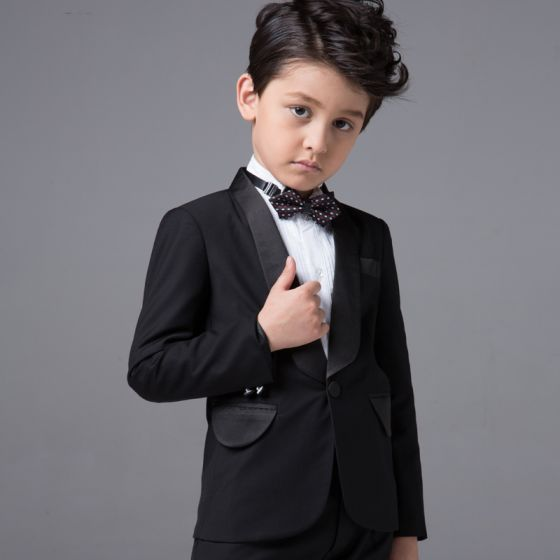 Modest / Simple Wedding Boys Wedding Suits 2017 Black Long Sleeve