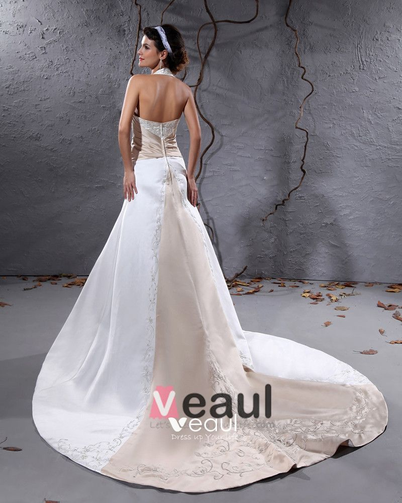 Charmeuse Embroidery Ruffle Halter Chapel A-Line Bridal Gown Wedding Dresses