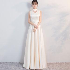 Modest / Simple Evening Dresses  2018 A-Line / Princess High Neck Sleeveless Floor-Length / Long Formal Dresses